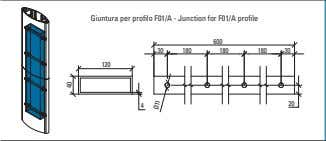 Giuntura per profilo F01/A - Junction for F01/A profile 600 30 180 180 180 30