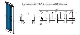 Giuntura per profilo F01/A-G - Junction for F01/A-G profile 800 30 300 140 300 30