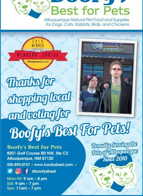 Thanks for shopping local and voting for Boofy's Best For Pets! Boofy's Best for Pets