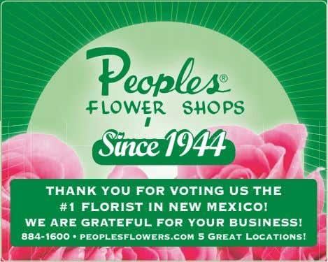 SiSincence 19441944 Thank you for voTing us The #1 florisT in new mexico! we are