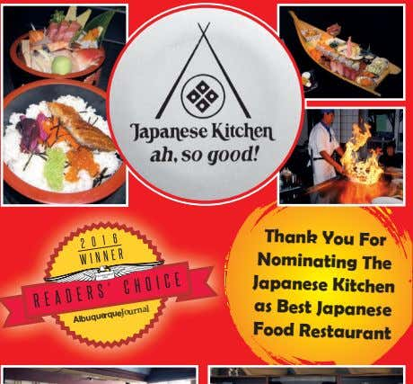thank You For nominating the Japanese Kitchen as Best Japanese Food Restaurant AlbuquerqueJournal