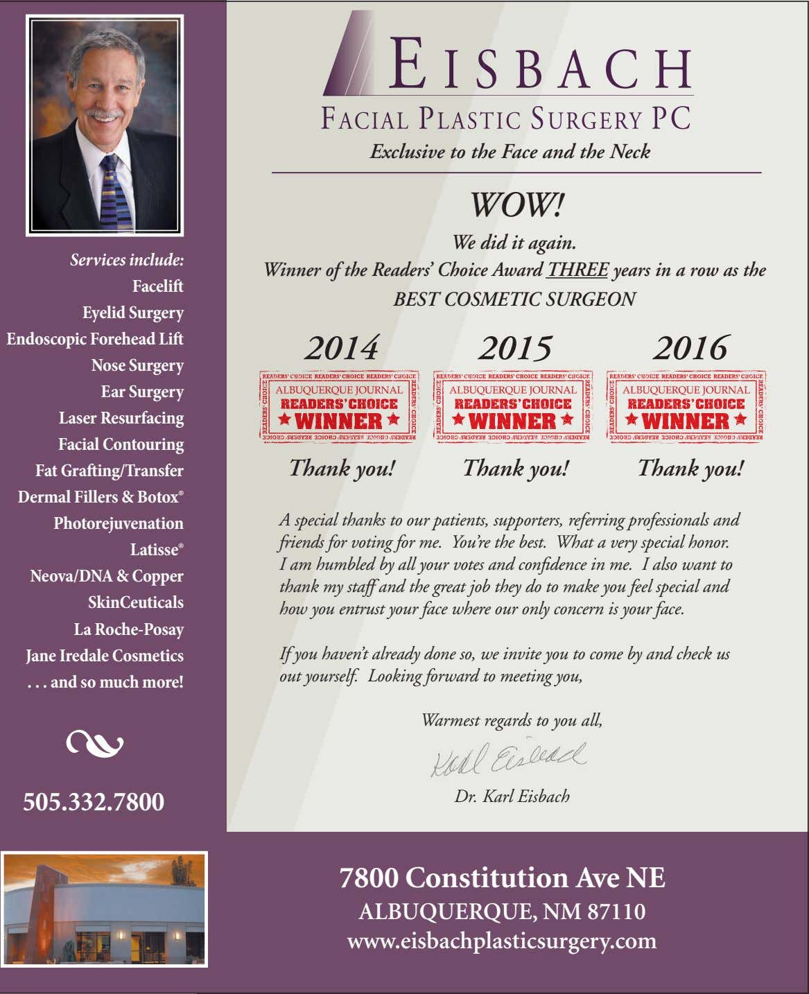 exclusive to the Face and the neck wow! we did it again. Services include: Facelift