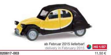 ab Februar 2015 lieferbar! delivery in February 2015 H0 1/87 020817-003 11,50 €