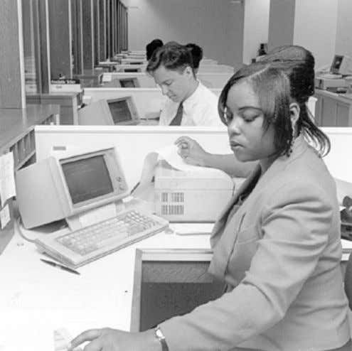 periods, such as lunch hours and Saturday mornings. An Tellers use computer terminals to record deposits