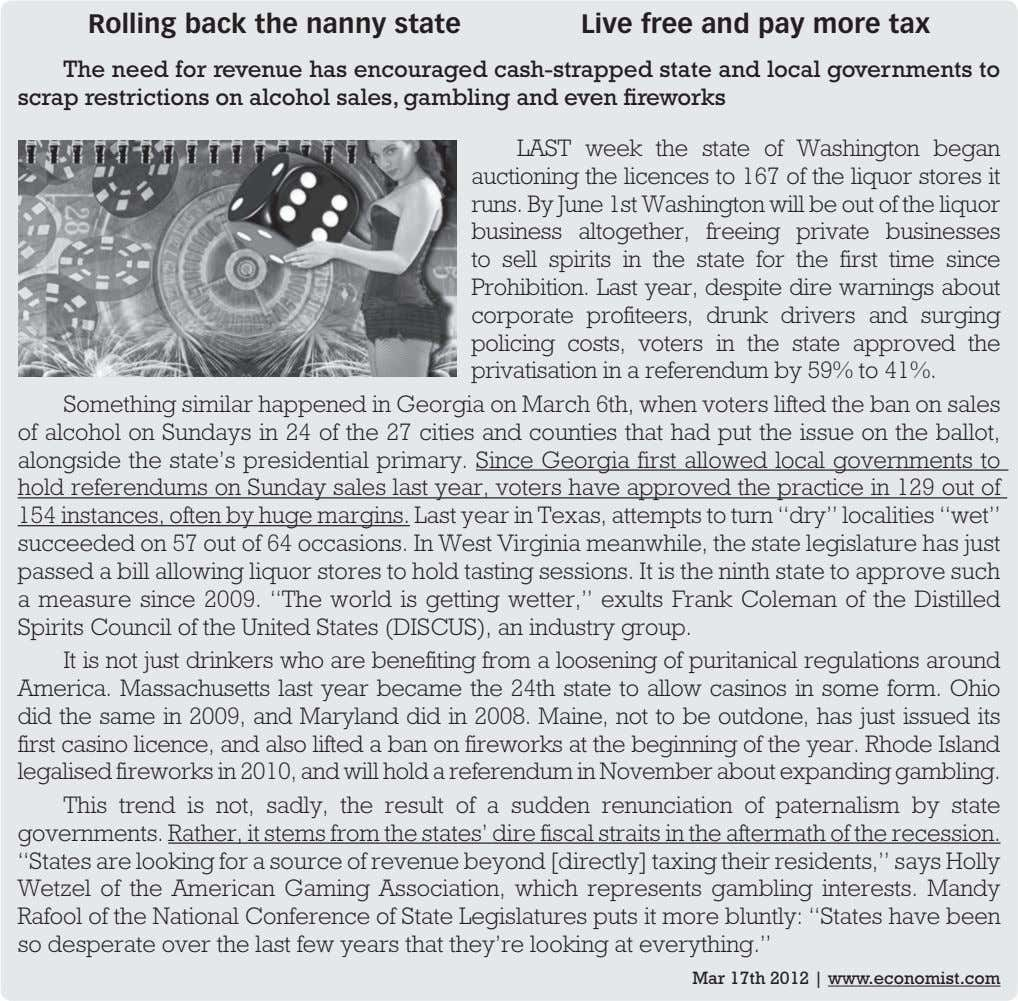 Rolling back the nanny state Live free and pay more tax The need for revenue
