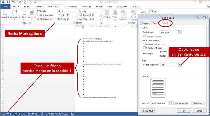 Manual de instrucción de Microsoft Word 2013: Uso intermedio • Bottom: alinea el texto en la