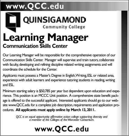 www.QCC.edu Learning Manager Communication Skills Center Our Learning Manager will be responsible for the comprehensive