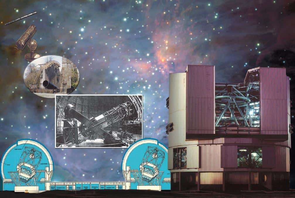 An illustrative view of the development of astronomical telescopes. From the top left, the telescopes