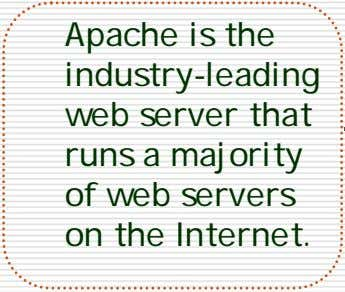 Apache is the industry-leading web server that runs a majority of web servers on the