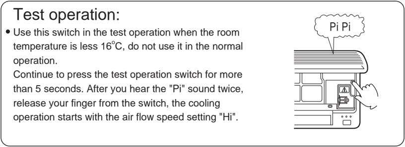Test operation: Pi Pi Use this switch in the test operation when the room temperature