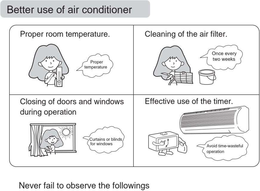 Better use of air conditioner Proper room temperature. Cleaning of the air filter. Once every