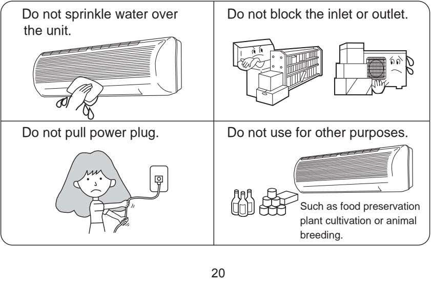 Do not sprinkle water over the unit. Do not block the inlet or outlet. Do