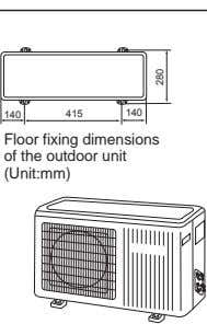 140 415 140 Floor fixing dimensions of the outdoor unit (Unit:mm) 082