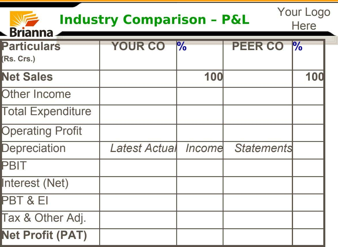 Industry Comparison – P&L Your Logo Here Particulars YOUR CO % PEER CO % (Rs. Crs.)
