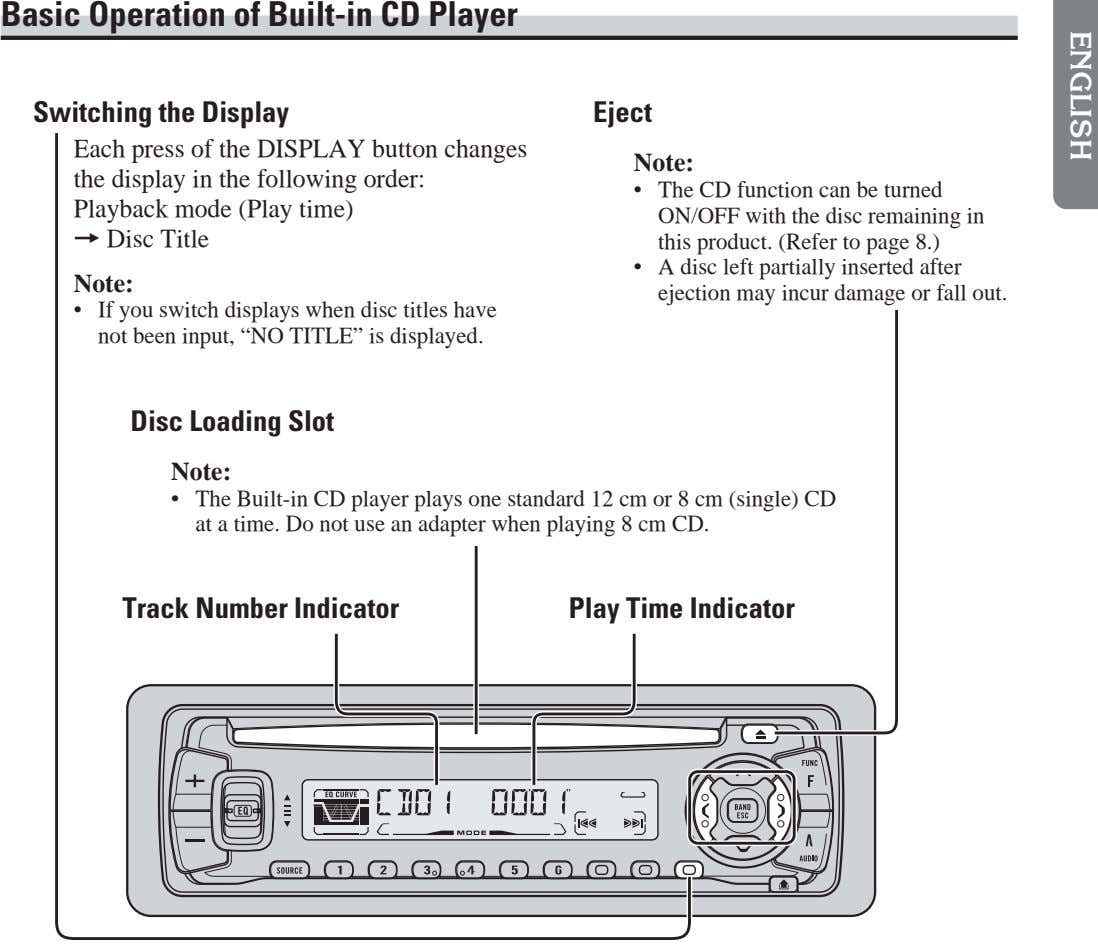 Basic Operation of Built-in CD Player Switching the Display Eject Each press of the DISPLAY