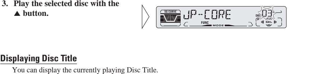 DEUTSCH 3. Play the selected disc with the 5 button. Displaying Disc Title You can