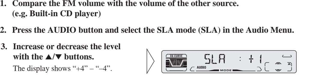 1. Compare the FM volume with the volume of the other source. (e.g. Built-in CD