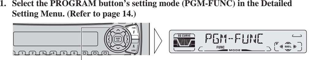 FRANÇAIS 1. Select the PROGRAM button's setting mode (PGM-FUNC) in the Detailed Setting Menu. (Refer