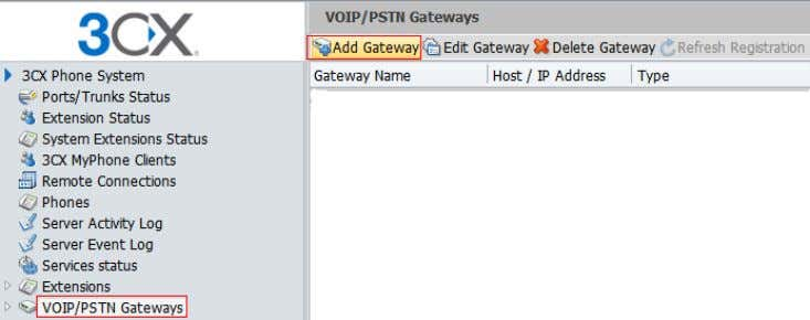 "SIP Trunk in 3CX web Please select ""VOIP/PSTN Gateways—> Add Gateway"" to create a SIP trunk:"