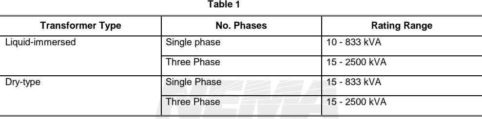 Table 1 Transformer Type No. Phases Rating Range Liquid-immersed Single phase 10 - 833 kVA