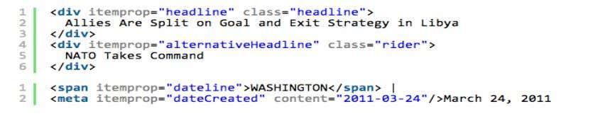Headline, dateline, date as additions to div/span properties Byline expressed as nested object (using itemscope )