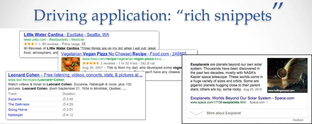"Driving application: ""rich snippets"""