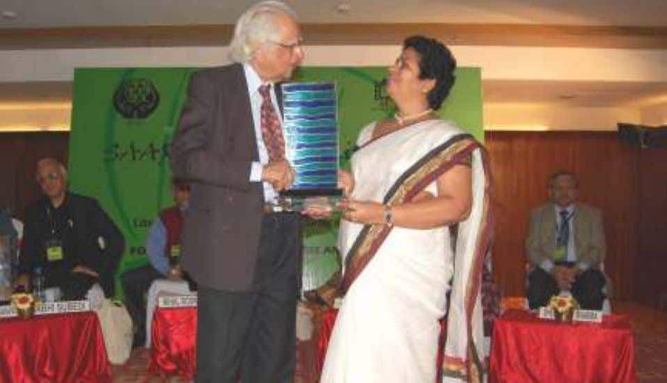 LITERARY AWARD to Mr. Om Thanvi, Chief Editor, Jansatta. Excellency Ms. Kanthi Wijetunge honouring Dr. Abid