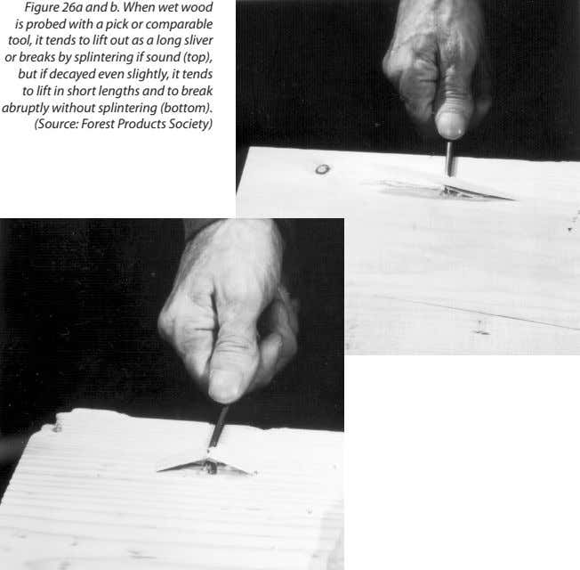 Figure 26a and b. When wet wood is probed with a pick or comparable tool,