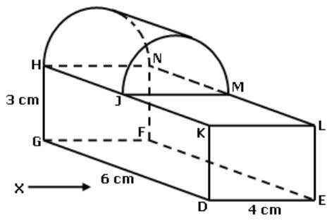 plane and HJ = 3 cm. Draw to full scale, the elevation of the solid on
