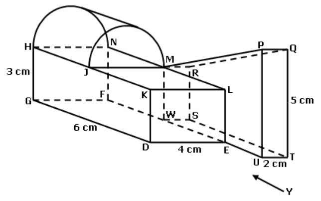 solid on a vertical plane parallel to UT as viewed from Y. Diagram beside shows a