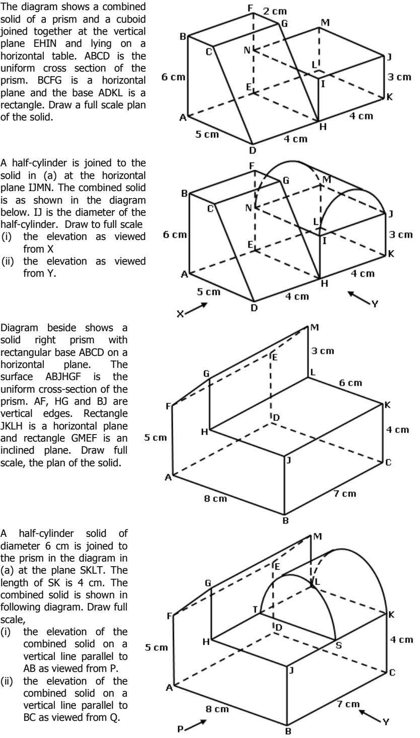 The diagram shows a combined solid of a prism and a cuboid joined together at