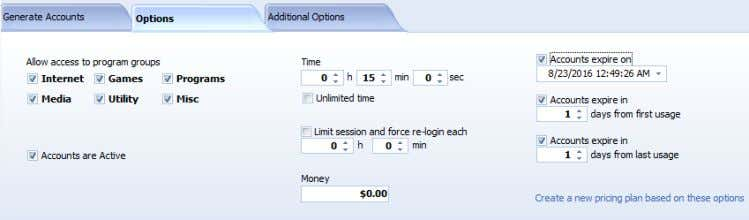 you can do it over Options and Additional Options pages. Allow access to program groups Accounts