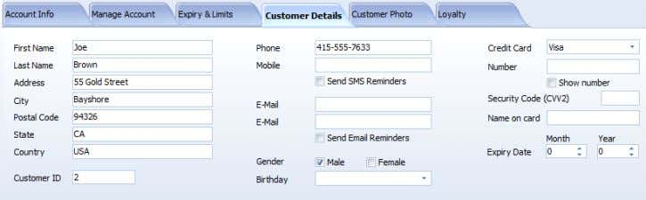 on Customer Details page are displayed in screenshot: Details include: - First and last name, -