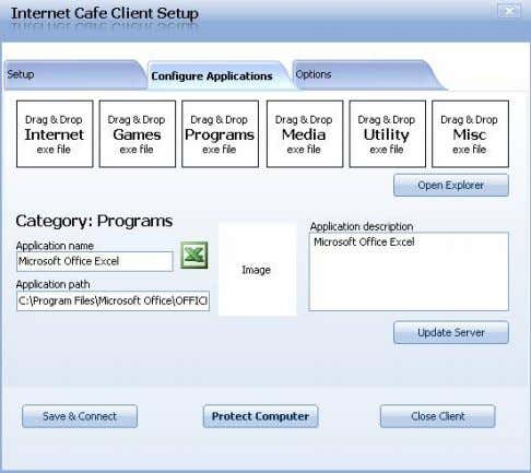 and select image for application 6. Click update server Open Cafe Server Setup - Applications -