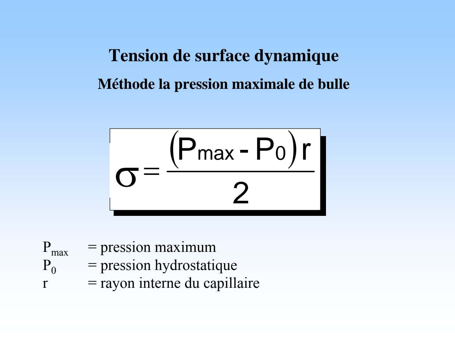 Tension de surface dynamique Méthode la pression maximale de bulle  P - P 