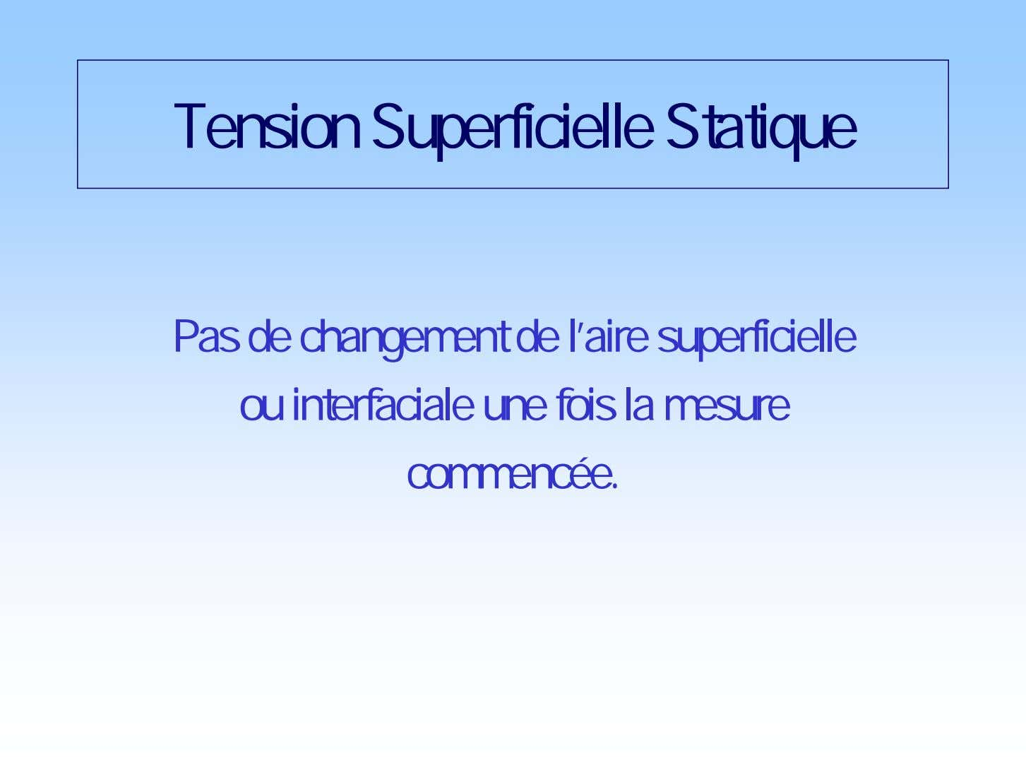 Tension Superficielle Statique Pas de changement de l'aire superficielle ou interfaciale une fois la mesure