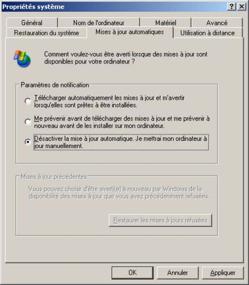 Support Windows Xp - 45 / 92 - Les fonctions Assistance et Bureau à distance posent
