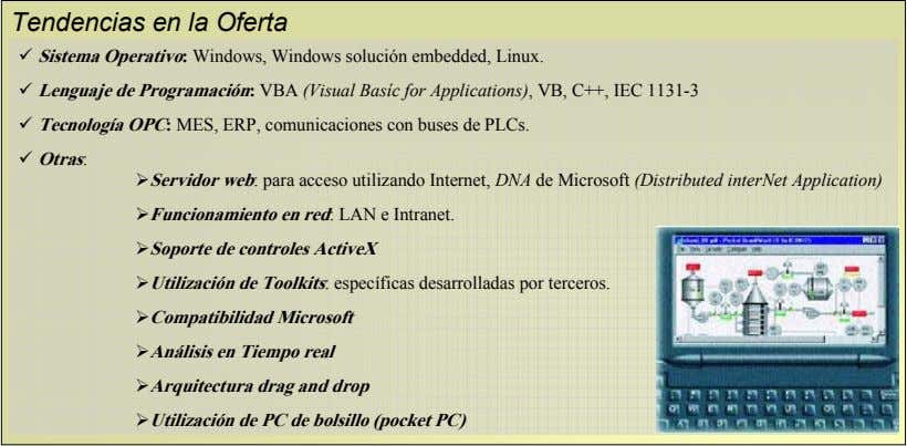 Tendencias en la Oferta Sistema Operativo: Windows, Windows solución embedded, Linux. Lenguaje de Programación: VBA