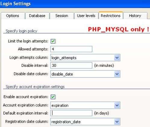 ": Tutorial: Login tables: installation & configuration e) PHP_MYSQL server model only: click the ""History"""