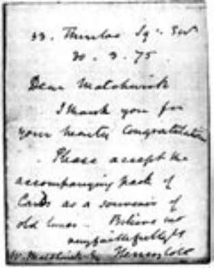 Letter of 1875 from Henry Cole giving a pack of 'International' cards to the correspondant sheets