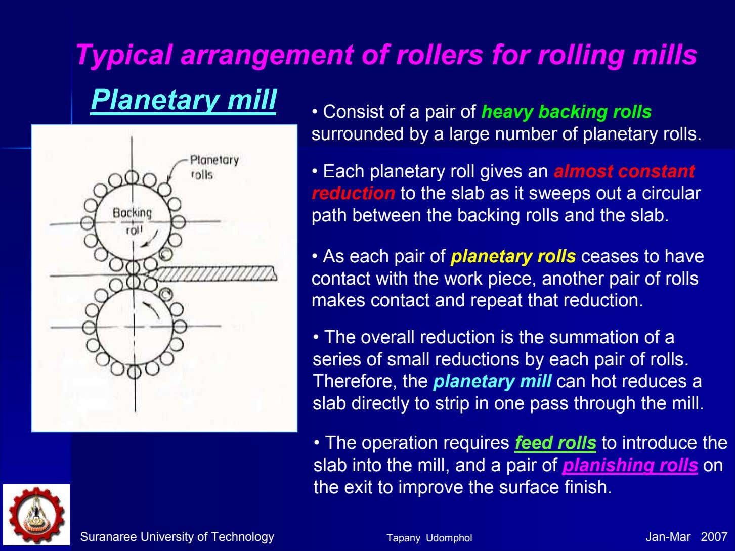 Typical arrangement of rollers for rolling mills Planetary mill • Consist of a pair of