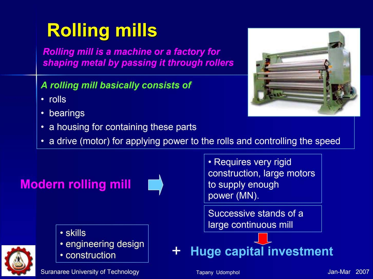 RollingRolling millsmills Rolling mill is a machine or a factory for shaping metal by passing