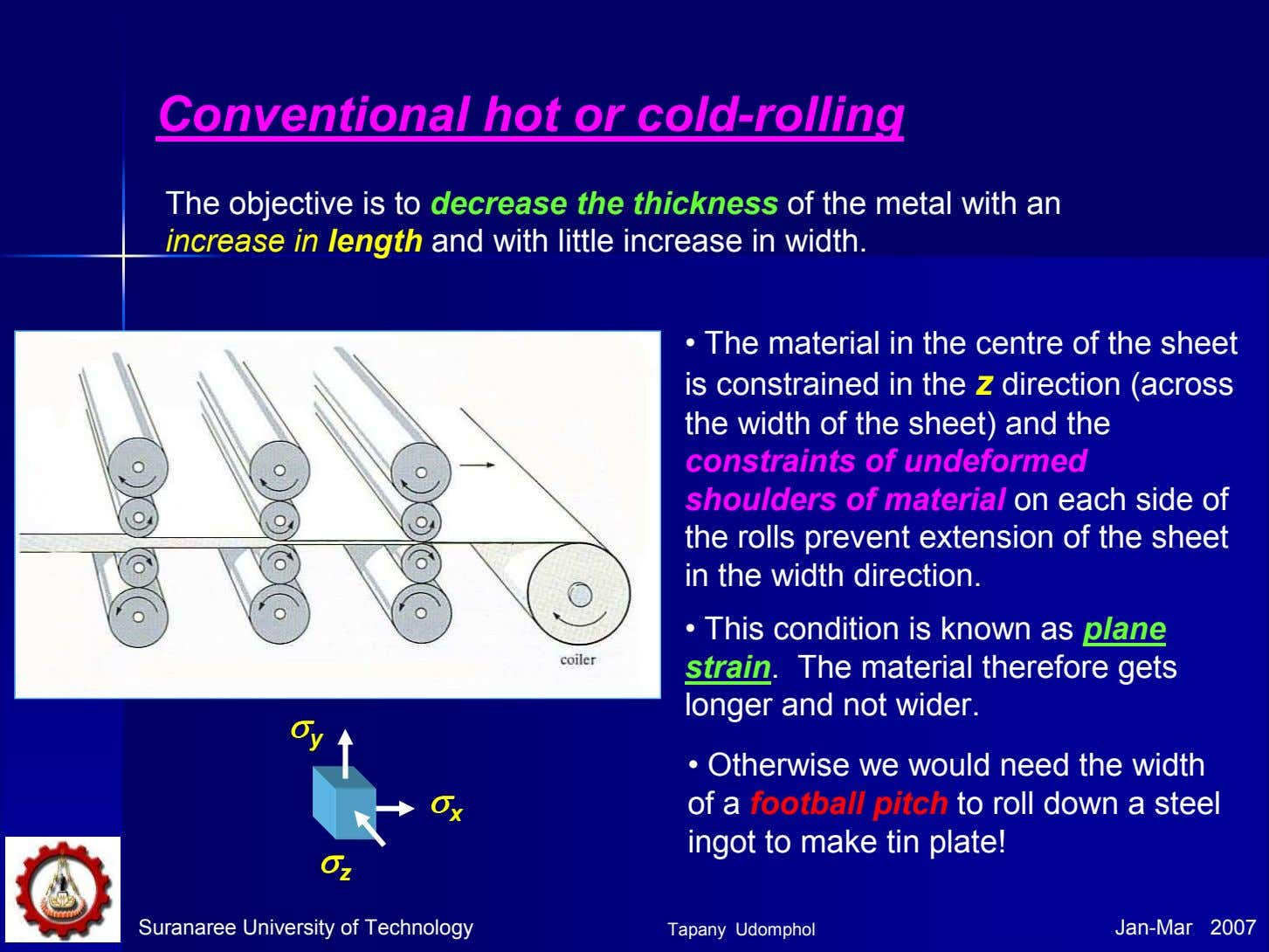 Conventional hot or cold-rolling The objective is to decrease the thickness of the metal with