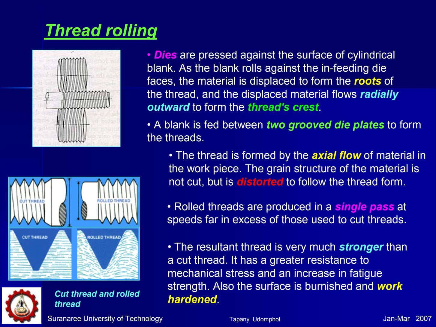 Thread rolling • Dies are pressed against the surface of cylindrical blank. As the blank