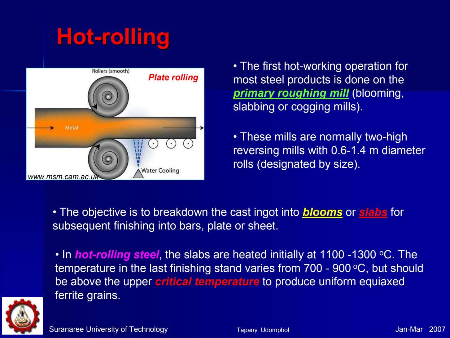 HotHot--rollingrolling Plate rolling • The first hot-working operation for most steel products is done on