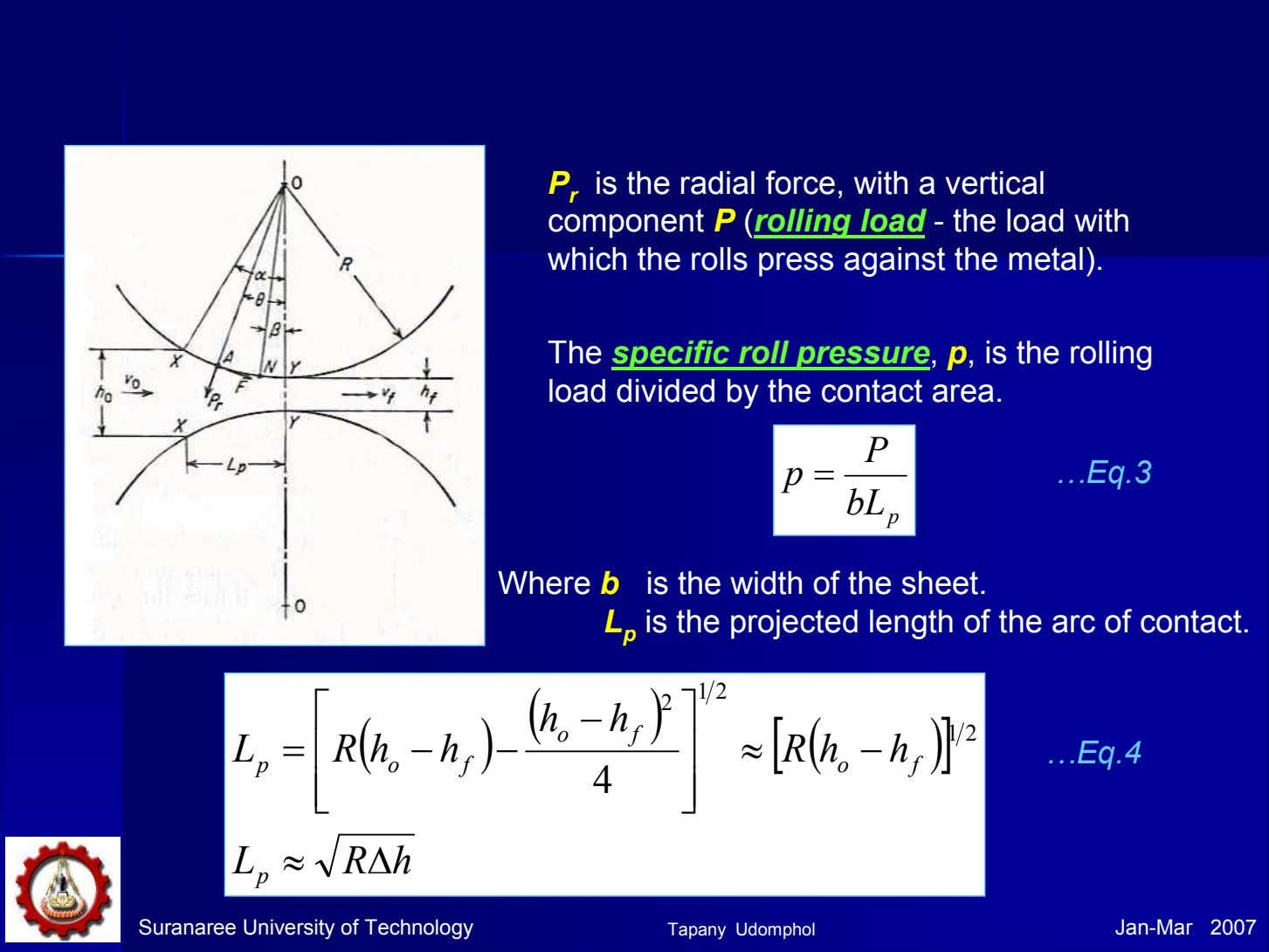 P r is the radial force, with a vertical component P (rolling load - the