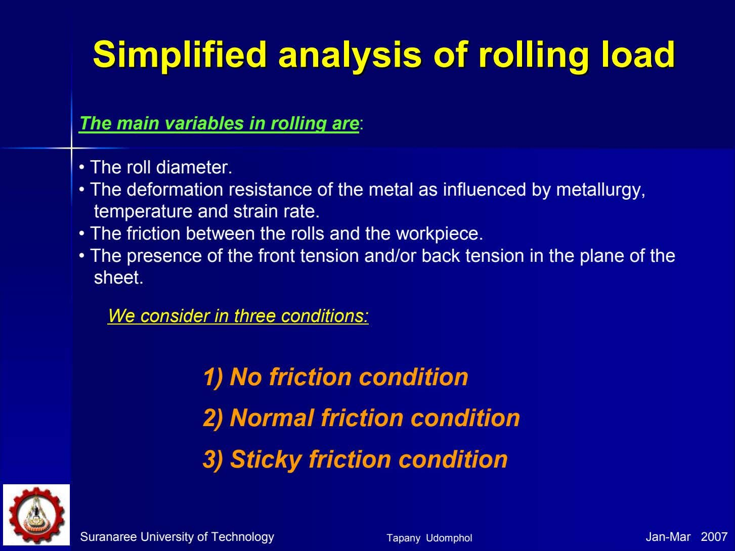 SimplifiedSimplified analysisanalysis ofof rollingrolling loadload The main variables in rolling are: • The roll