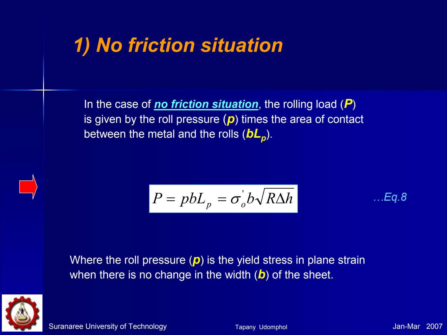 1) No friction situation In the case of no friction situation, the rolling load (P)