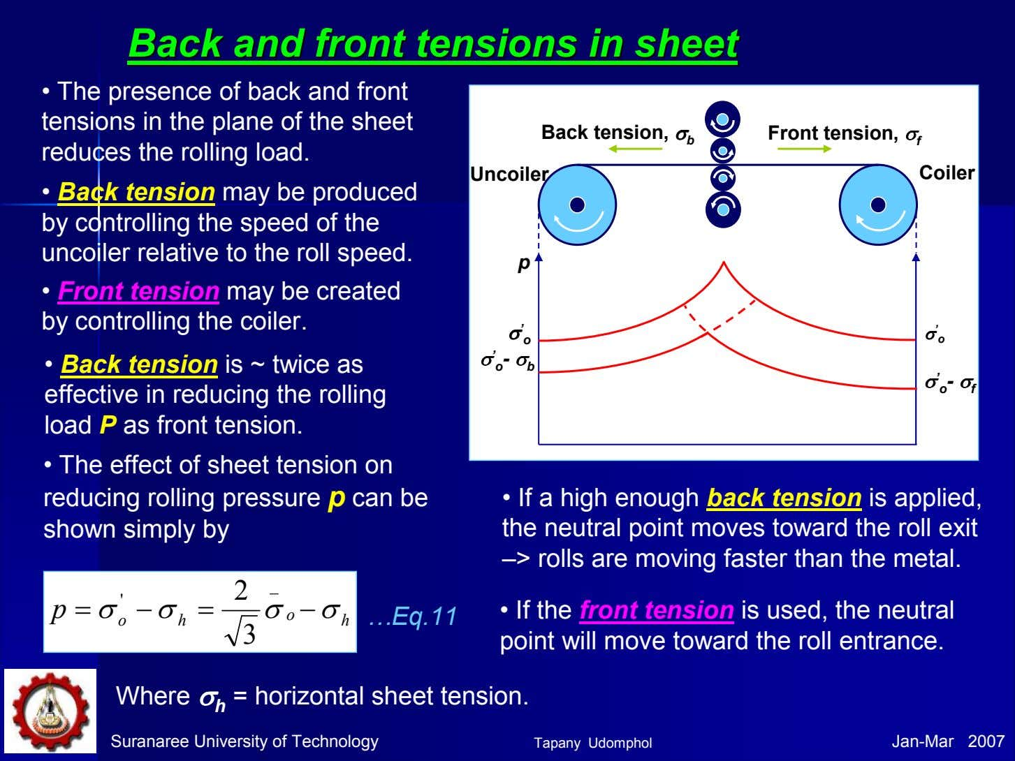 BackBack andand frontfront tensionstensions inin sheetsheet • The presence of back and front tensions in