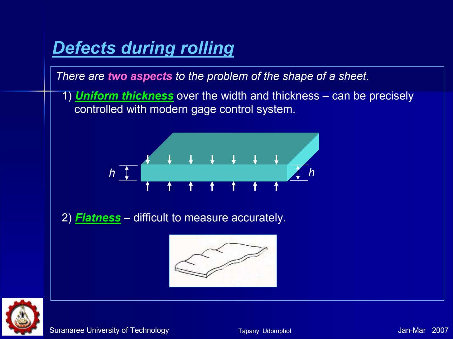 Defects during rolling There are two aspects to the problem of the shape of a